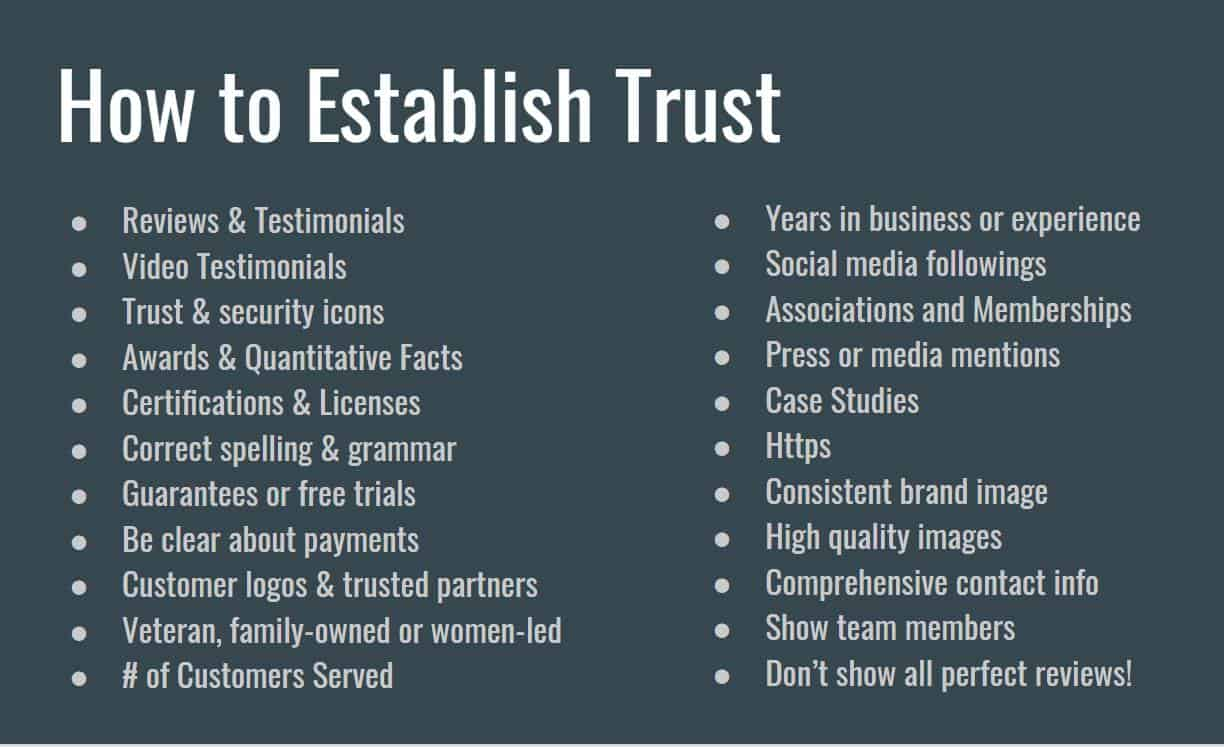 Establishing trust is critical when trying to get customers to stay on your website.